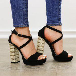 Espadrille Heel Black Open Toe Platform Sandals